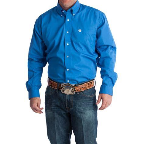 shop s cinch blue solid pinpoint buttondown shirt size 3x