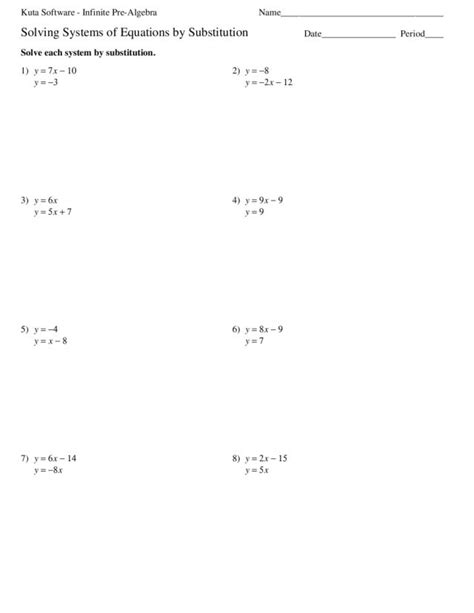 Solving Systems Of Equations By Substitution Worksheet Steps