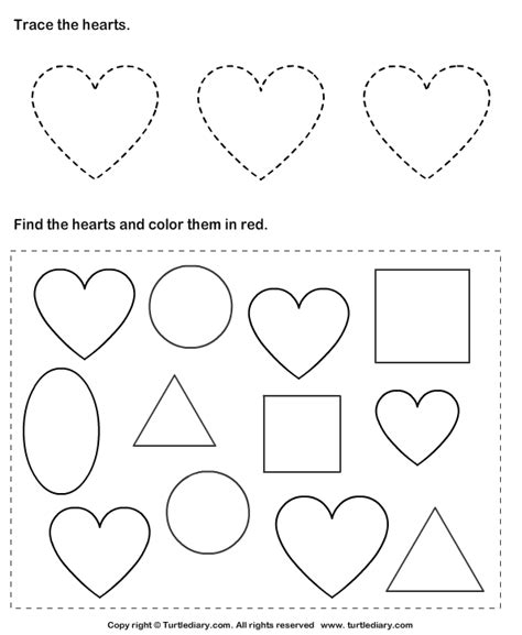 heart coloring pages for kindergarten worksheets heart worksheets opossumsoft worksheets and
