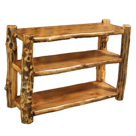 log living room furniture 3 shelf log bookcase country western rustic wood table
