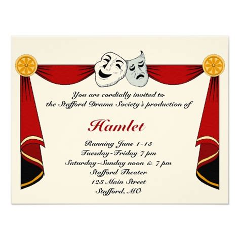Drama And Theatre Invitation 11 Cm X 14 Cm Invitation Card Zazzle Theater Invitation Template