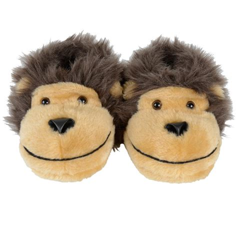 monkey slippers childrens novelty faux fur monkey slippers with non
