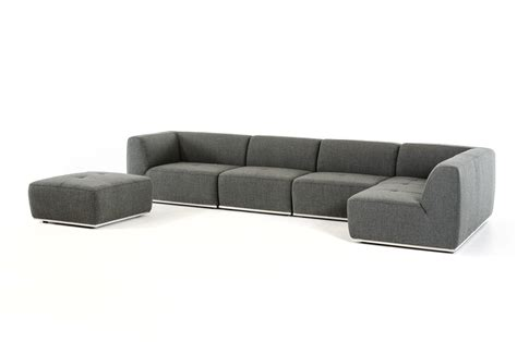 divani casa hawthorn modern grey fabric sectional sofa and