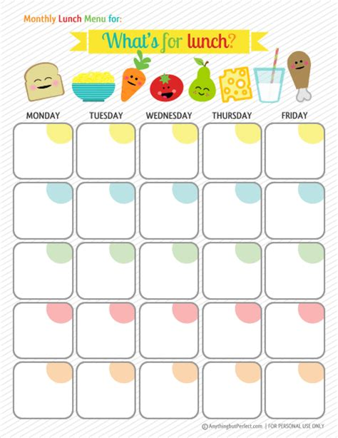 Printable Lunch Meal Planner | day at a glance printable calendar template 2016