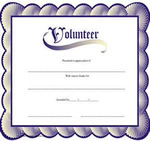 volunteer recognition certificate template sle volunteer certificate template 10 free documents