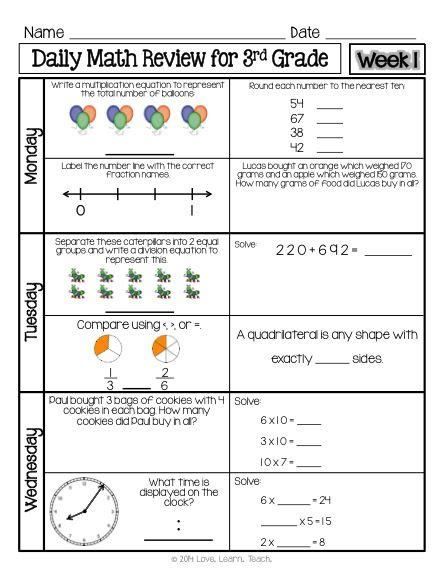free 1 week sample of spiral daily math review for 3rd