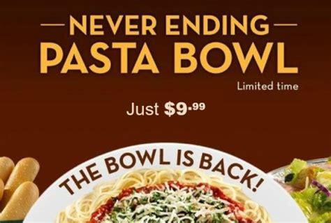olive garden never ending pasta bowl just 9 99 through november 22nd hip2save