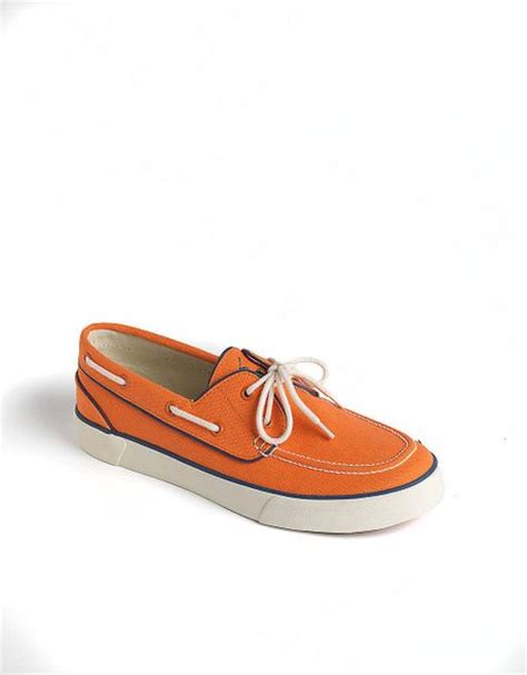 polo ralph lander canvas boat shoes in orange for