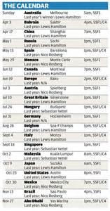 F1 Calendar Tv When Does F1 2016 Start Race Calendar Tv Schedule Teams