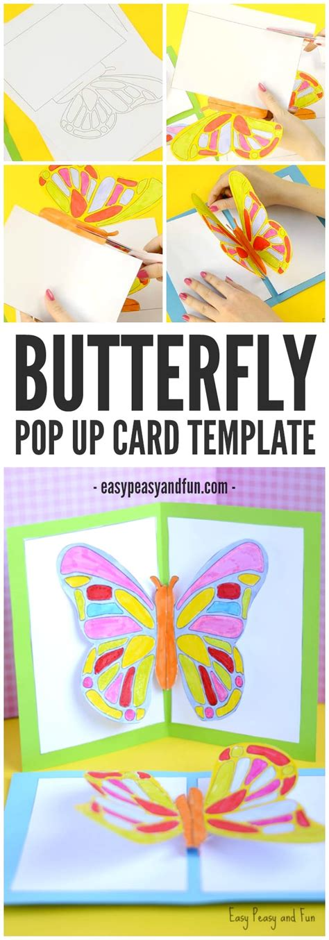 Diy Butterfly Pop Up Card With A Template Easy Peasy And Fun Card Templates For Children To Make