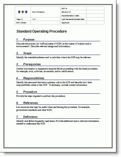 9 Standard Operating Procedure Sop Templates Word Excel Pdf Formats Process Document Template Excel