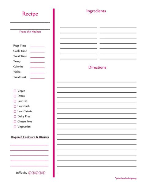 page from the kitchen of recipe card template recipe card page cooking stuff