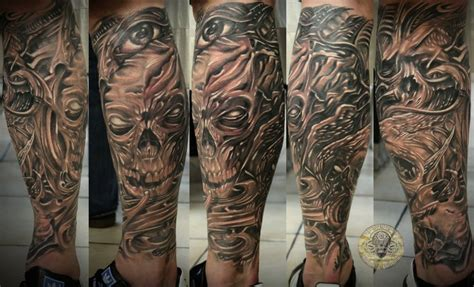 horror bio skull eye tattoos on whole leg tattooshunt com