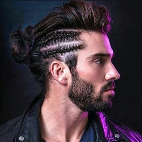 side cornrow braids with back bun men hair 2016.jpg (480