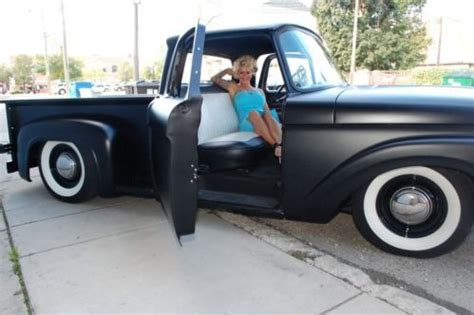 buy used ford f100 flat black, custom, chop top, sucide