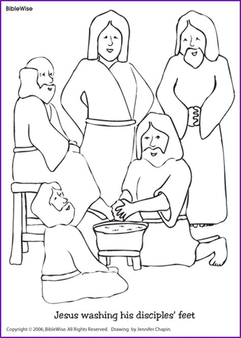 Coloring Jesus Washing Disciples Feet Kids Korner Jesus Washes The Disciples Coloring Page