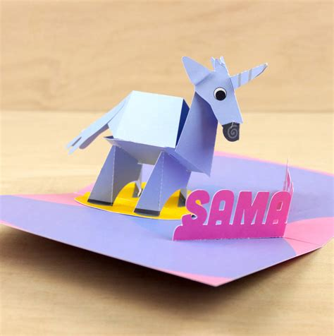 unicorn pop up card template personalised pop up unicorn birthday card by paperfiction