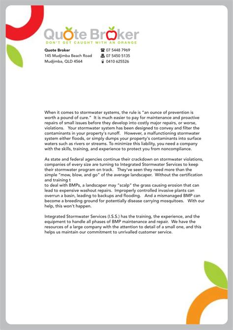 letterhead quote template bold modern letterhead design for quote broker by atvento