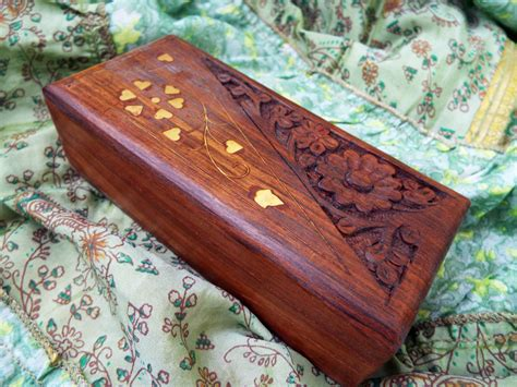 Handmade Wooden Chest - box wooden jewelry carved handmade balinese home decor