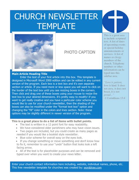 free newletter template best photos of sle of church templates church