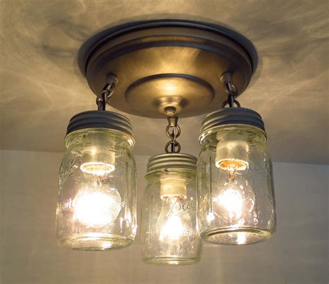 Canning Jar Light Fixtures Canning Jar New Pint Ceiling Light Trio Jar Chandelier