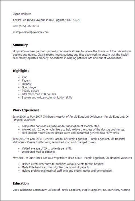 Resume Templates Volunteer Work by Professional Hospital Volunteer Templates To Showcase Your Talent Myperfectresume