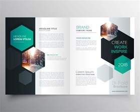 create free brochure templates brochure template with hexagonal shapes vector free