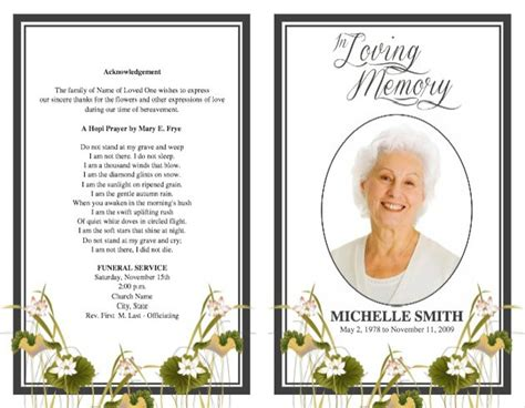 funeral service card templates funeral program template