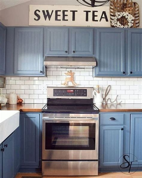 blue kitchen cabinets ideas blue kitchen cabinets with black appliances kitchen set