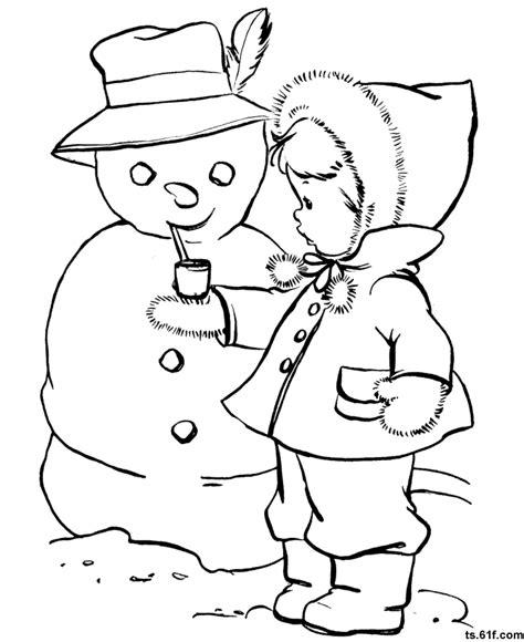 snowman scene coloring page 儿童学画冬天 冬天简笔画 冬天涂色卡 可以下载打印