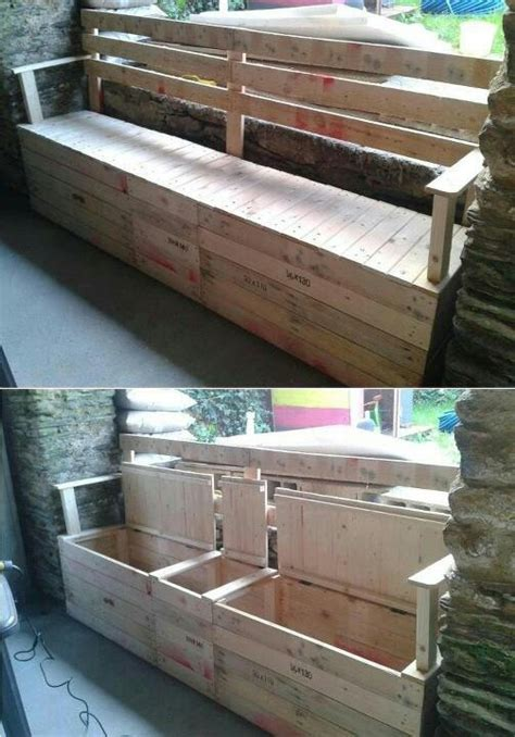 pallet storage bench a pallet storage bench house ideas pinterest