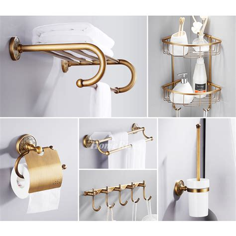 solid 6piece antique brass bathroom hardware sets