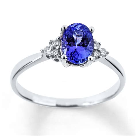 jared tanzanite ring oval cut with diamonds 10k white gold