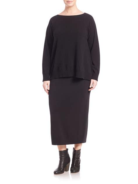 eileen fisher wool column pencil skirt in black lyst