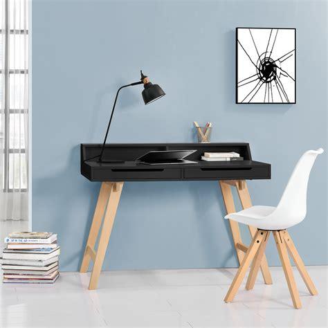 Schreibtisch Holzbeine by En Casa 174 Retro Schreibtisch Mit Stuhl Schwarz