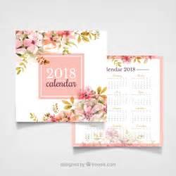 Calendario 2018 Vector Gratis Calendario Vintage 2018 Con Flores De Acuarela Descargar