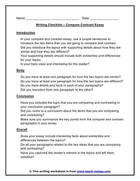 Compare Contrast Checklist Poe Ly Written Essay Exles Essay Template Essay Writing Compare And Contrast Essay Outline Template