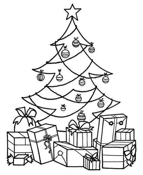 christmas tree and presents coloring page coloring pages of christmas trees coloring home