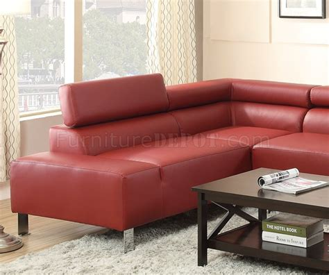 f7300 sectional sofa by poundex in burgundy bonded leather
