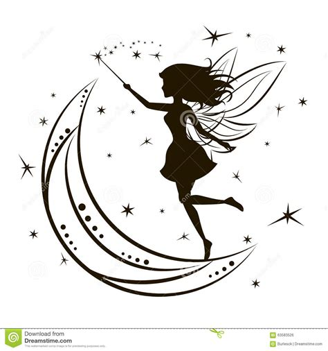 moon and stars fairy l silhouette of fairy with moon and stars stock vector
