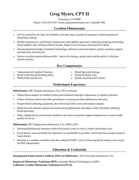 phlebotomist resume sle entry level phlebotomy resume exles 28 images sle 7