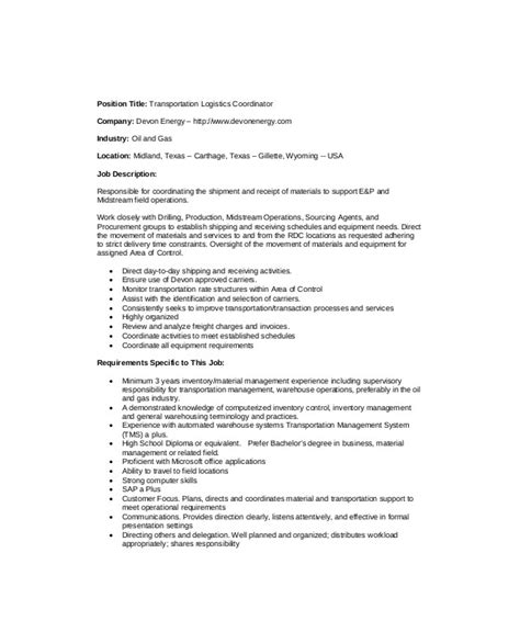 logistics coordinator description sle 9 exles in word pdf