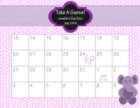 Baby Calendar Template by Printable Due Date Calendar Baby Shower Guess The