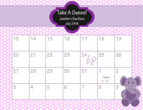 Baby Shower Calendar Template printable due date calendar baby shower guess the