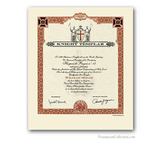 knight templar certificate masonic certificates awards