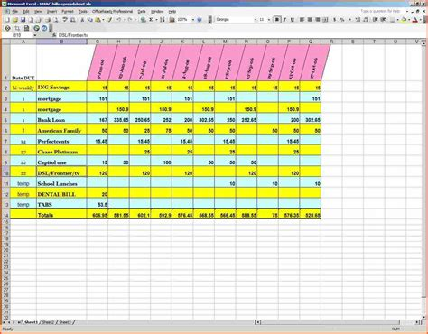excel spreadsheet for billsmemo templates word memo