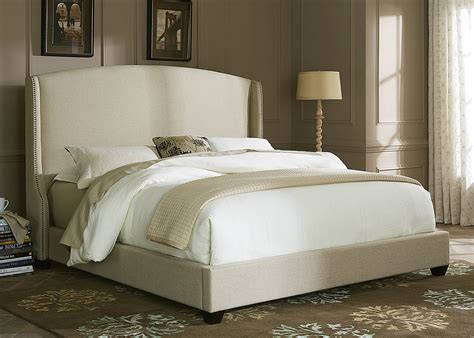 winged bedroom natural linen winged upholstered bed