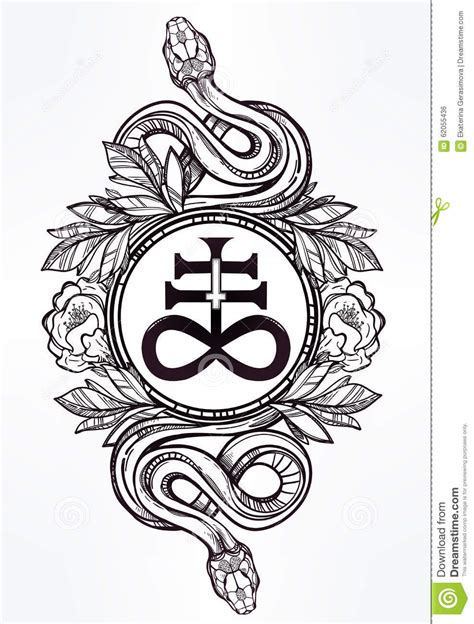 snake with satanic cross illustration stock vector