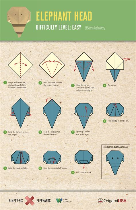 Easy Elephant Origami - easy origami elephant highlights for children