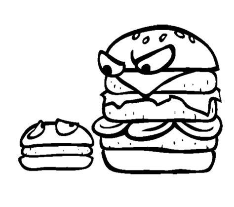 Junk Food Big Burger And Small Burger Coloring Page For Small Coloring Pages